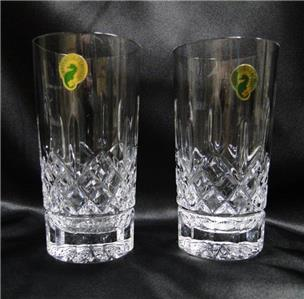 "Waterford Crystal Lismore: NEW Pair Hiballs, 5 5/8"", 12 oz, Box, FREE SHIP, FREE WRAP"