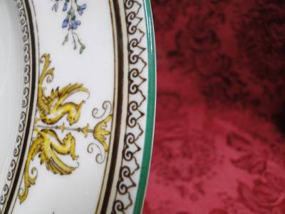 Wedgwood Columbia, White, Medallion, Green Trim: Salad Plate (s), 8 1/8""