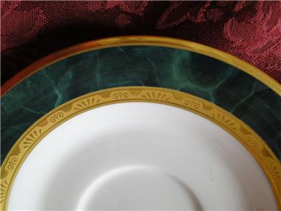 "Noritake Fitzgerald, 4712, Green Marble, Gold: Cup & Saucer Set (s), 3"" Tall"