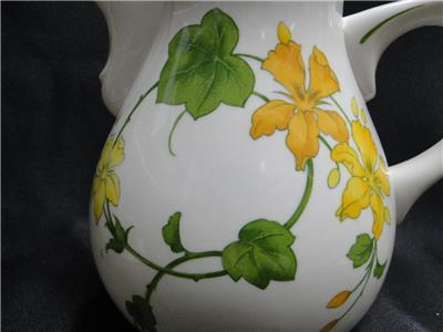 "Villeroy & Boch Geranium, Yellow & Green, No Rib: Pitcher, 5 3/4"" Tall"