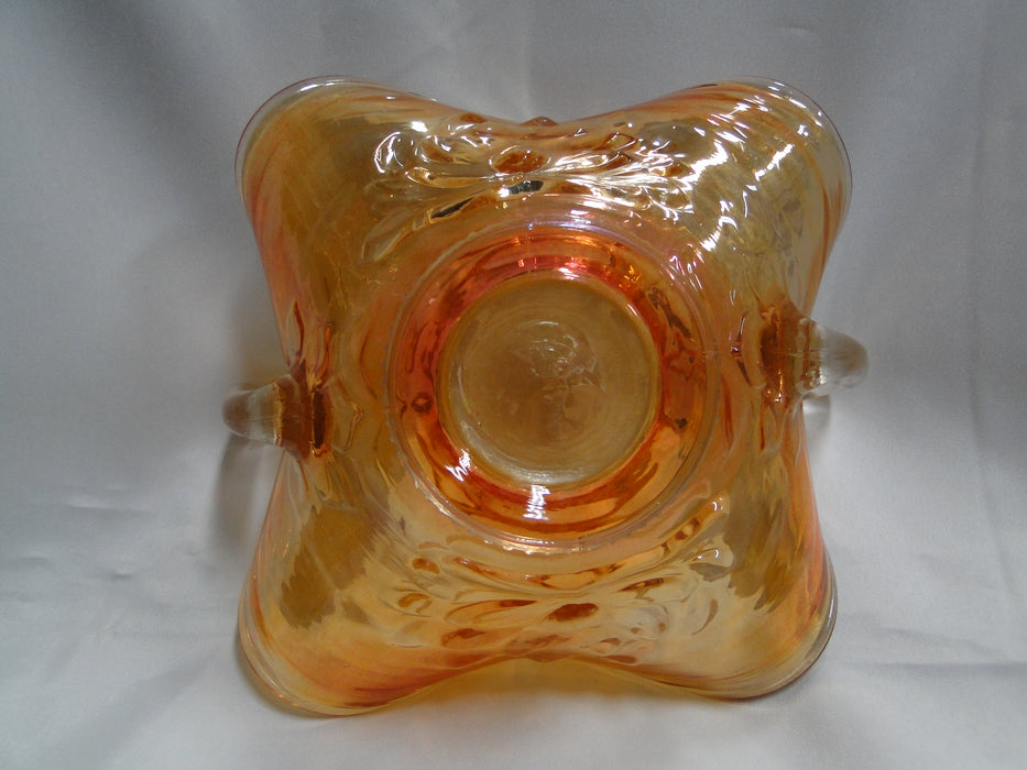 "Amber Carnival Glass Square Bowl w/ Clear Handles, 6 1/4"" x 3 1/2"" - MG#106"