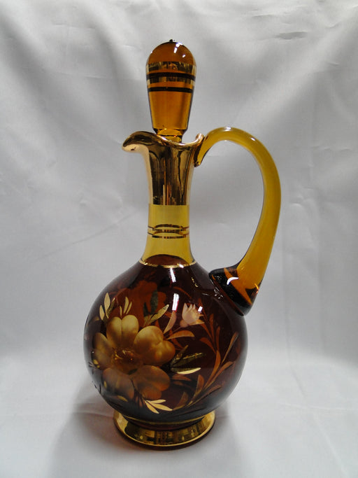 Amber Glass Cut to Gray: Decanter & Stopper, 6 Glasses, & Bell Set - MG#108