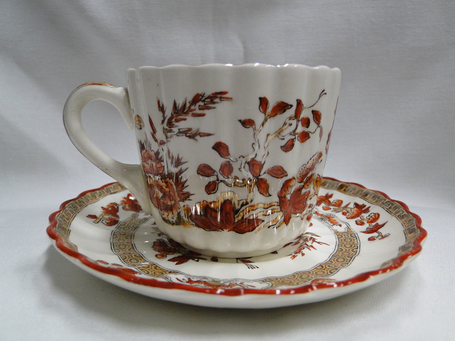 Spode India Tree Orange Rust, Floral, Red Trim: Cup & Saucer Set (s), 2 5/8""