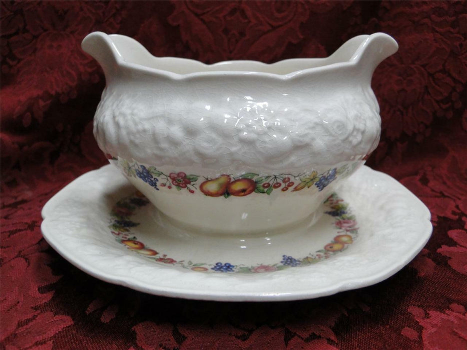 Crown Ducal Florentine Garden (Crazing): Gravy Boat with Attached Underplate