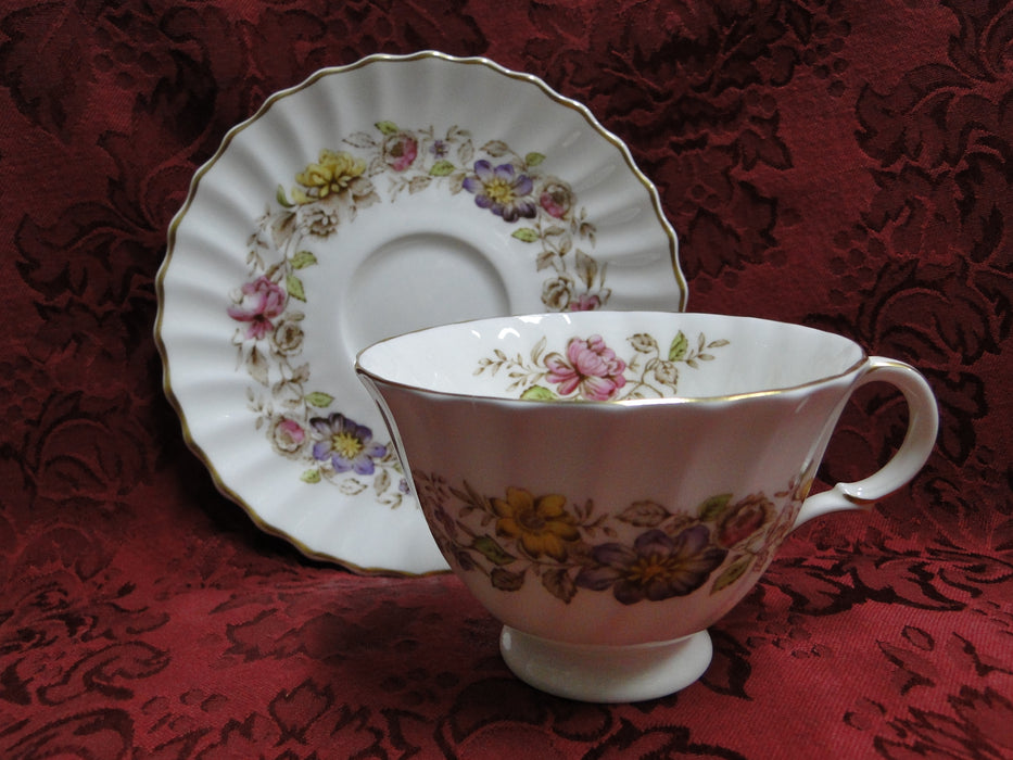 Royal Doulton Mayfair H4897, Multicolored Floral Band: Cup & Saucer Set (s)