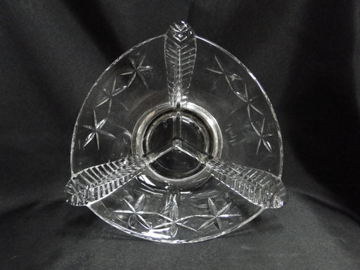 "3 Part Crystal Relish Dish, Cut Stars, Sterling Silver Base, 7 3/8"", MG#090"