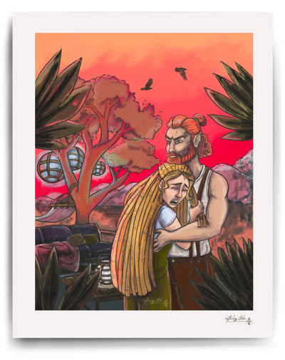 Norse God Thor holding Norse Goddess Sif in front of an angry red sky