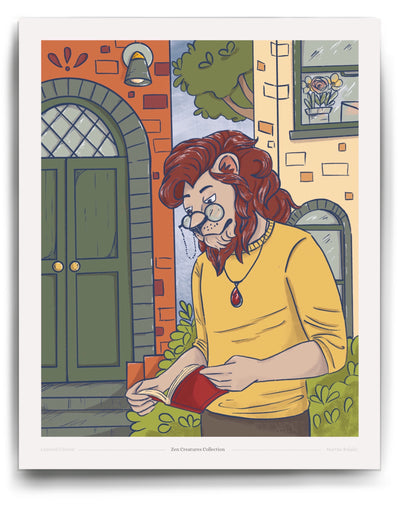 Lion with glasses reading a book digital Illustration art print