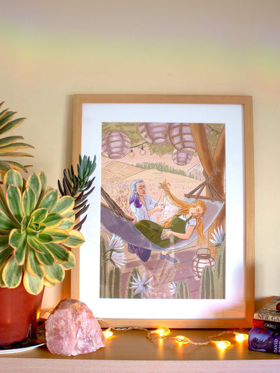 Framed poster of Norse God Loki cutting Goddess Sif's hair