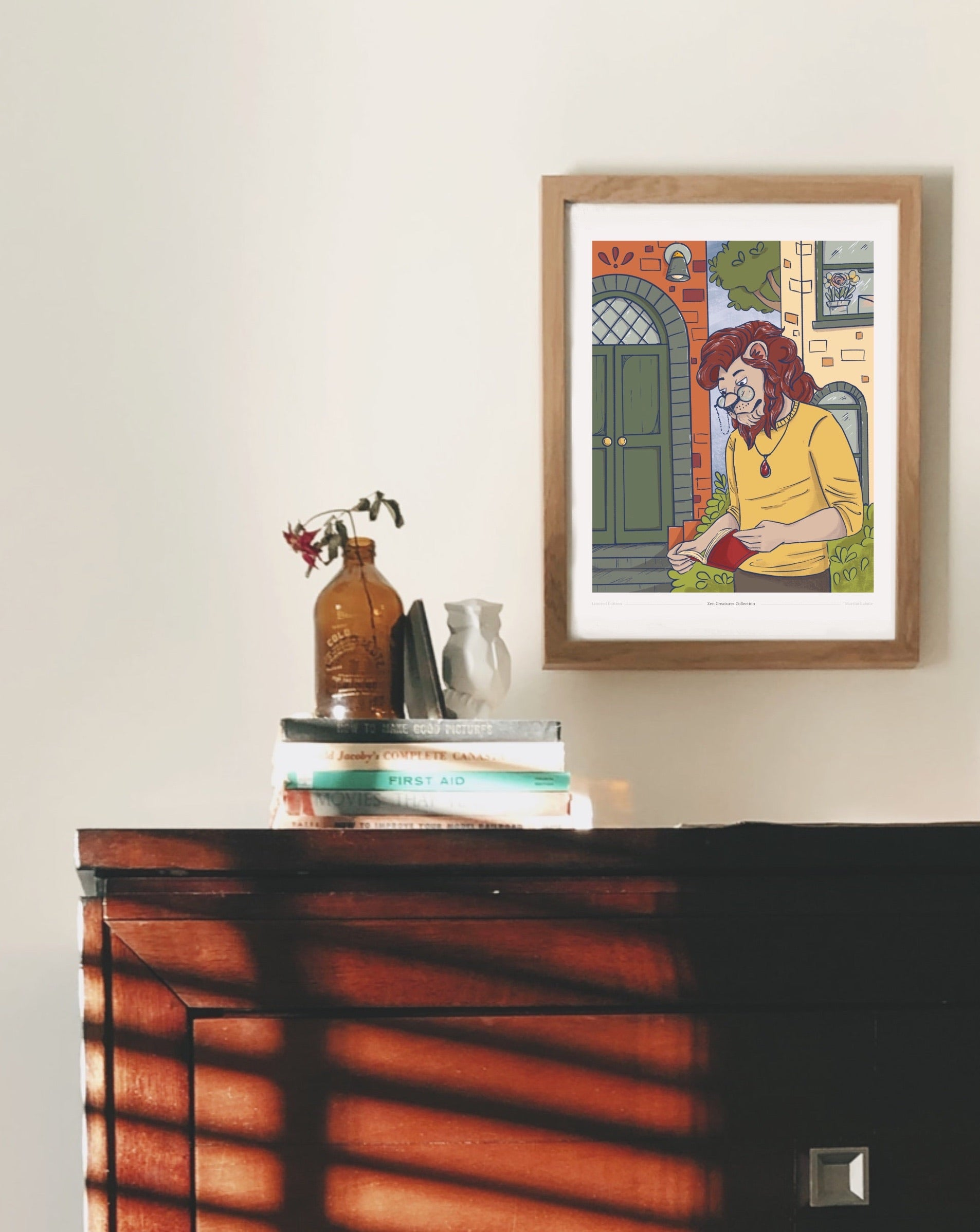 Lion reading wall art print