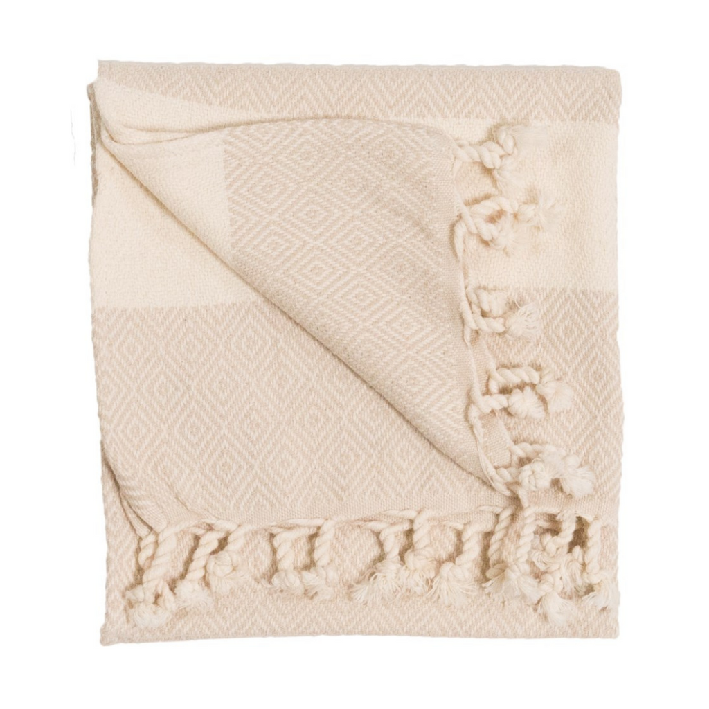 Diamond Turkish Hand Towel | Cream