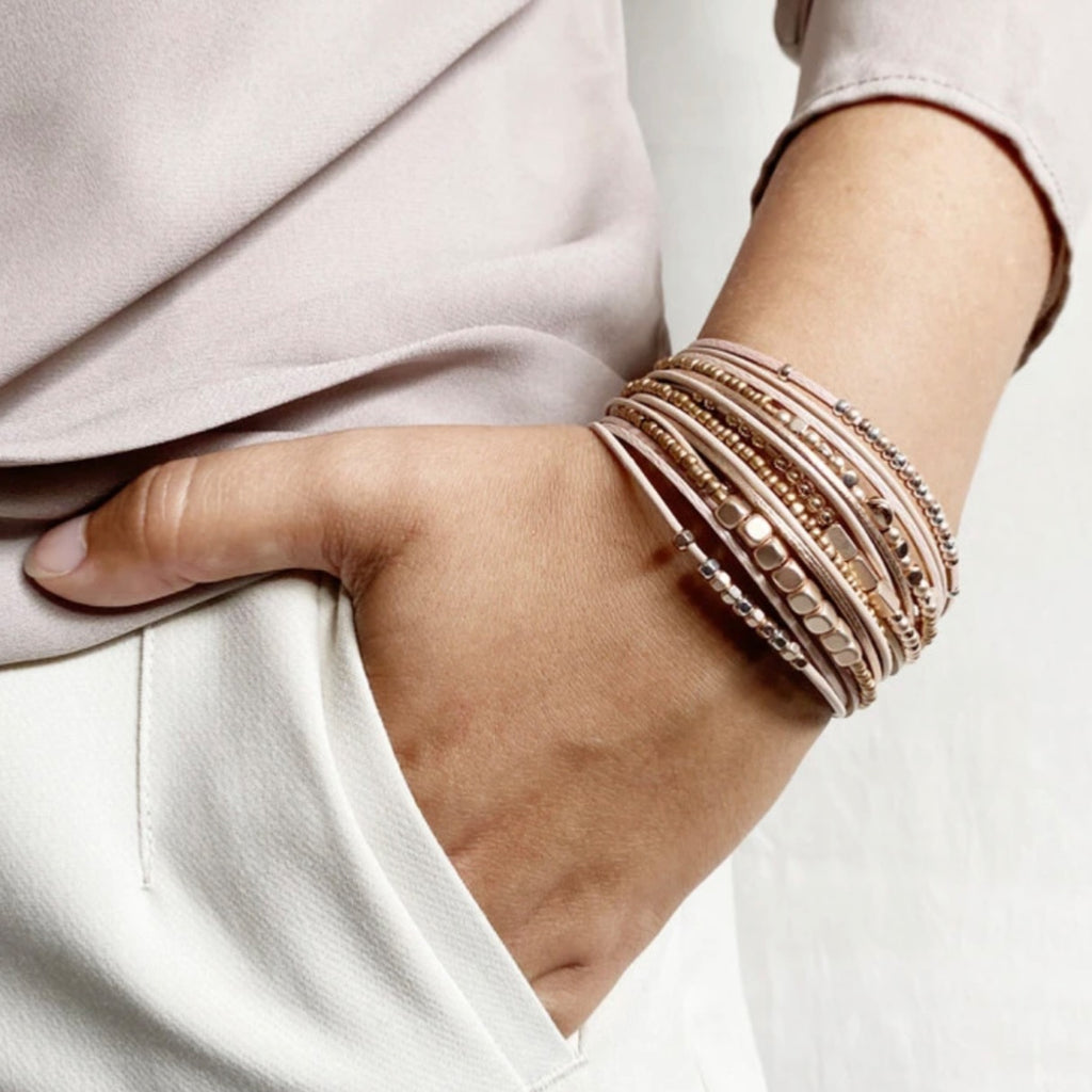 Lulu Leather Beaded Bracelet | Blush