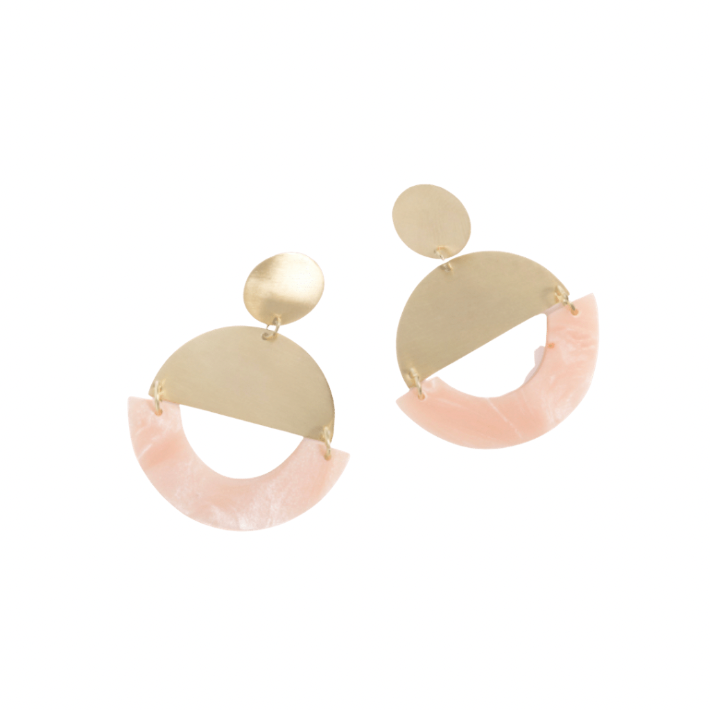 Nicola Earrings | Brass + Pink