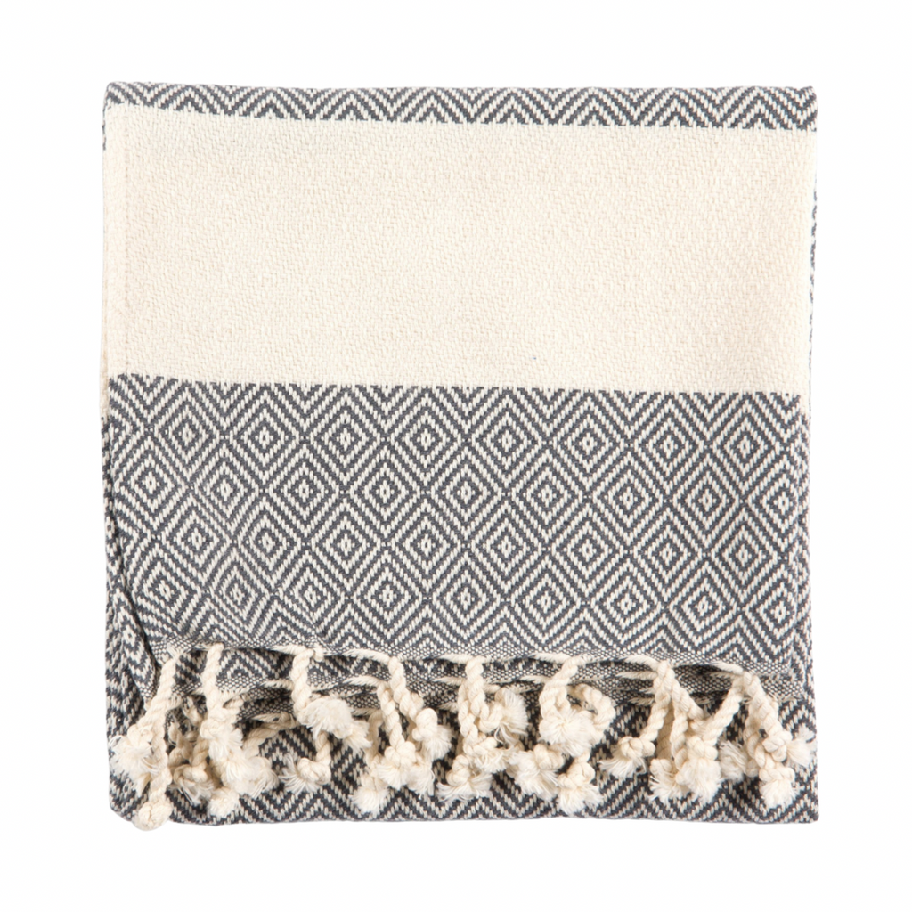 Diamond Turkish Hand Towel | Grey