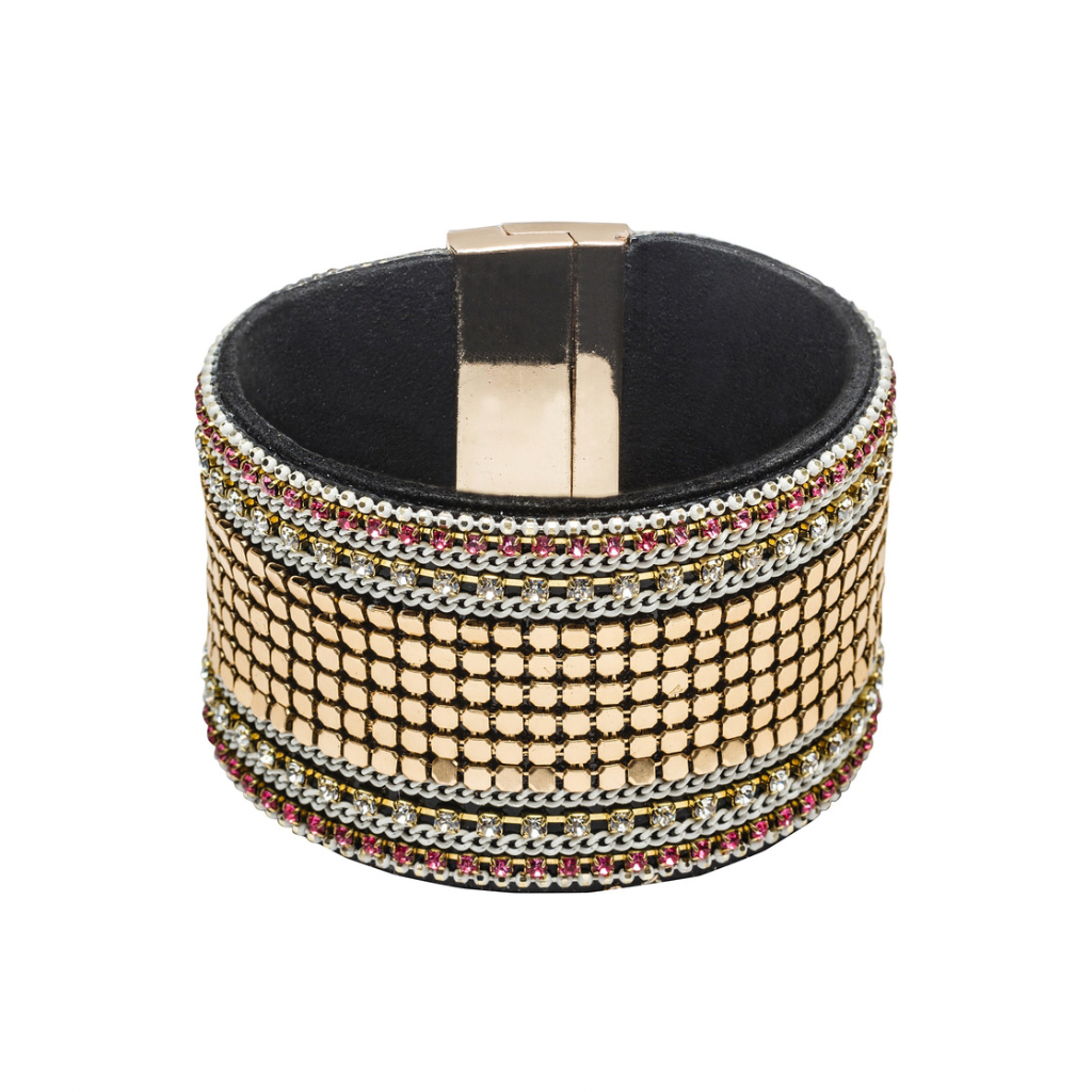 Beaded Leather Cuff Bracelet | Gold