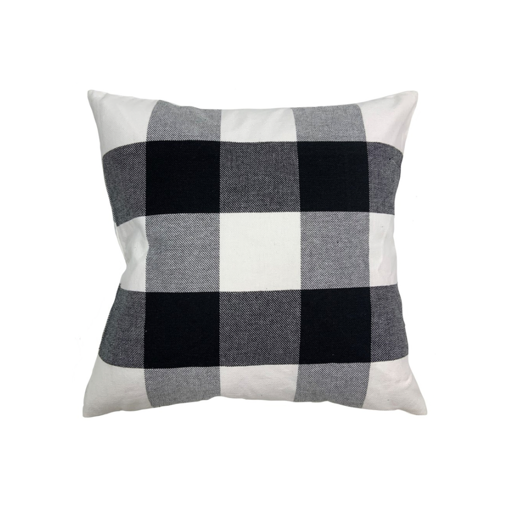 Cabin Plaid Pillow | Black + White