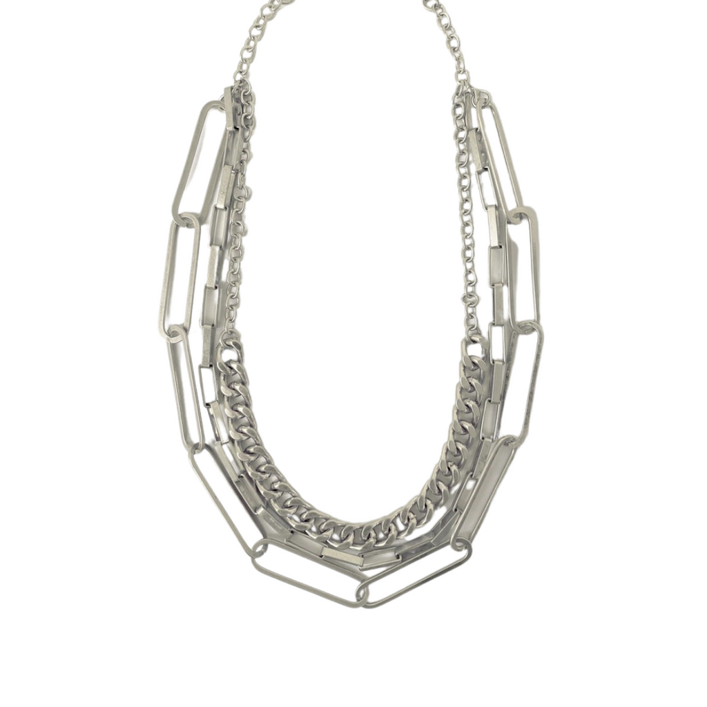 Layla Layered Links Necklace | Silver