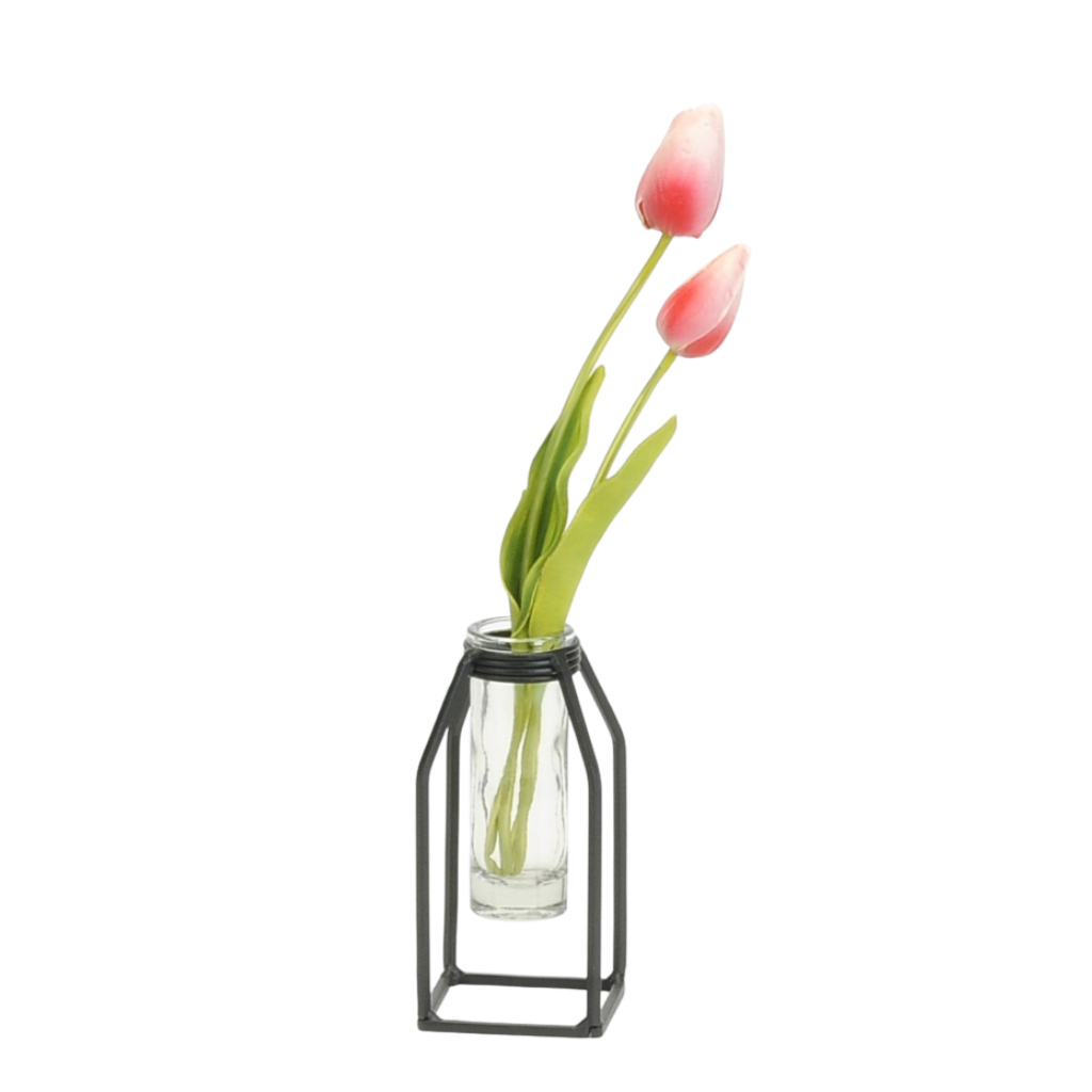 Ada Glass Tube Vase with Iron Stand | Small