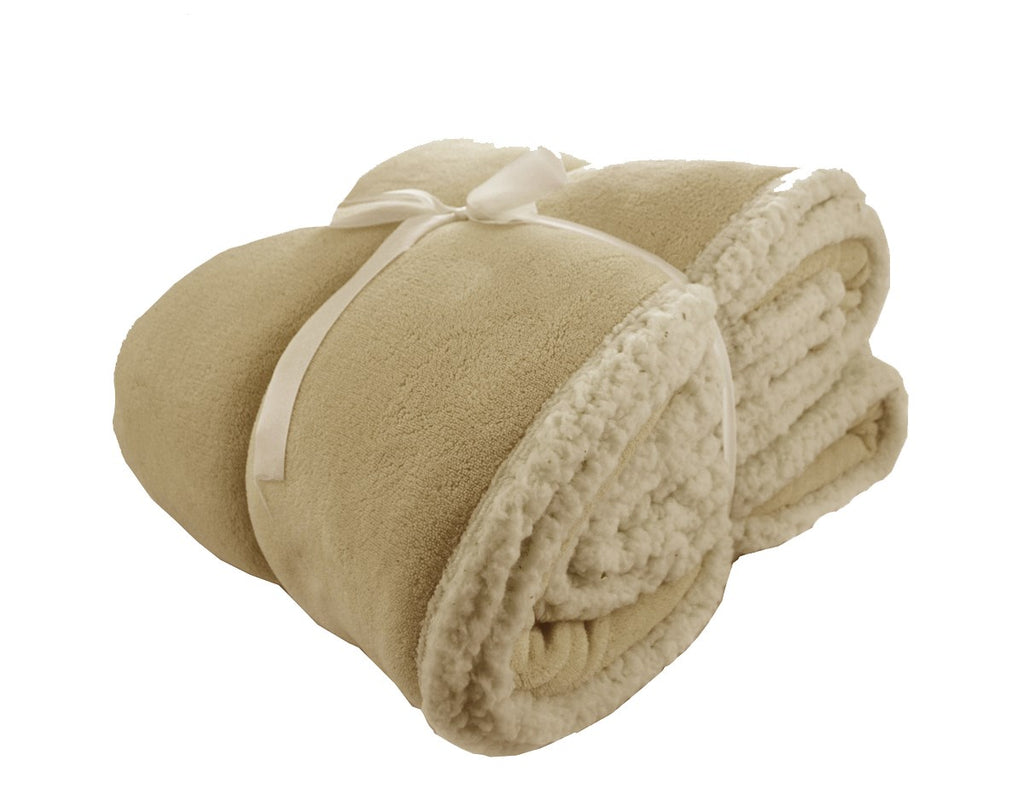 Sherpa Snuggle Throw Blanket | Beige