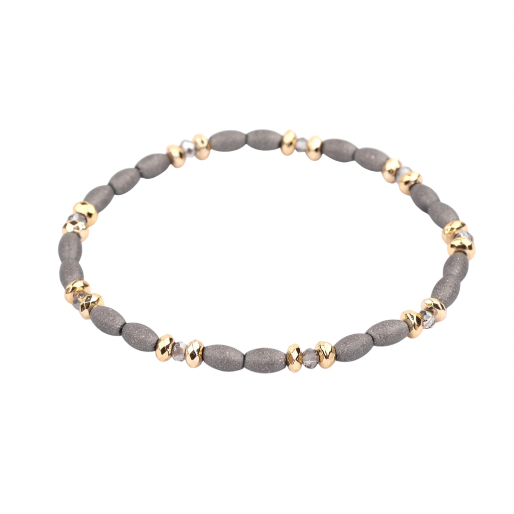 Stax Bracelet | Gray Oval + Faceted Clear