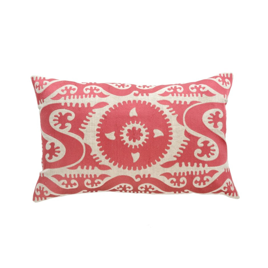 Sweet Pea Embroidered Pillow | Pink