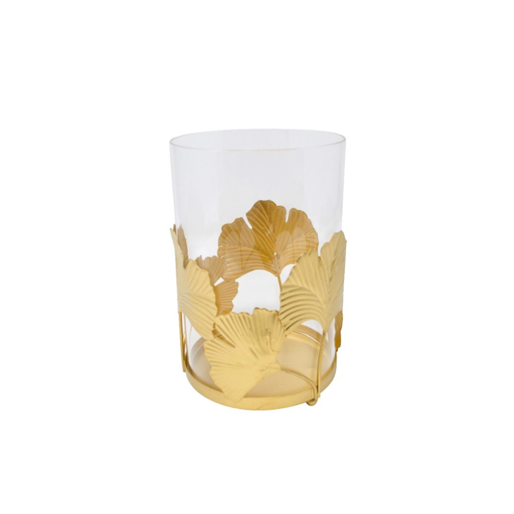 Gold Ginko Candle Holder