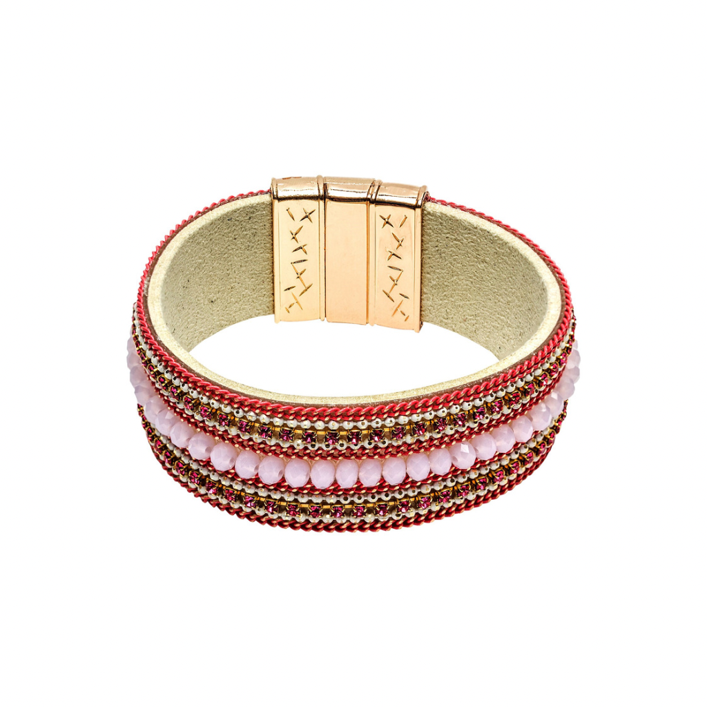 Beaded Leather Cuff Bracelet | Pink