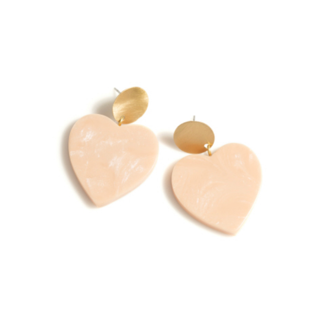 Kelton Heart Earrings | Brass + Coral