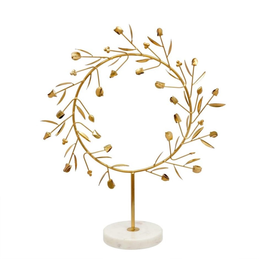 Athena Wreath on Stand | Gold