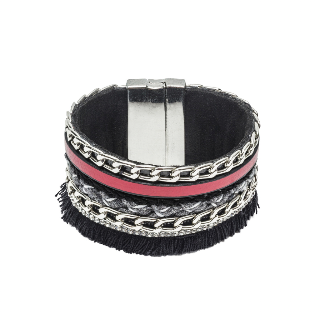 Chain Leather Cuff Bracelet | Fringe
