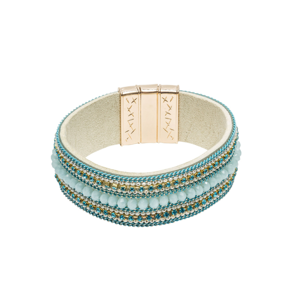 Beaded Leather Cuff | Aqua