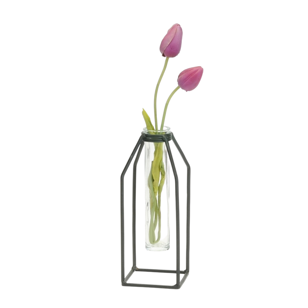Ada Glass Tube Vase with Iron Stand | Large