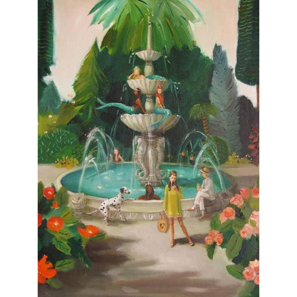 """Selfie At The Mermaid Public Fountain"" Art Print 