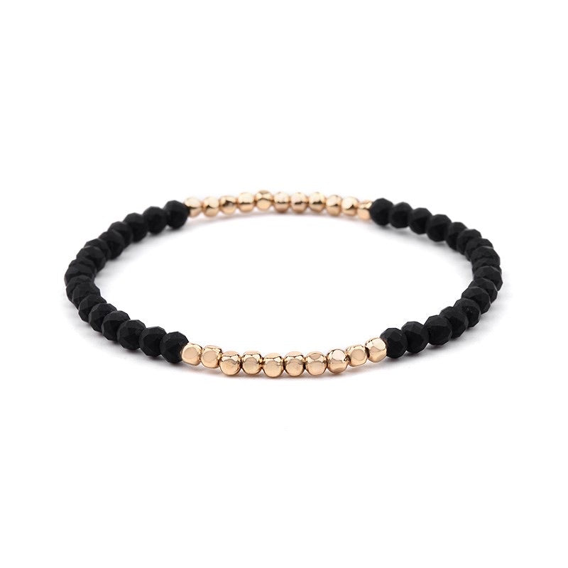 Stax Bracelet | Black + Gold Bead