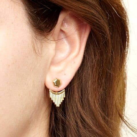 Luxe Jacket Earrings | Gold