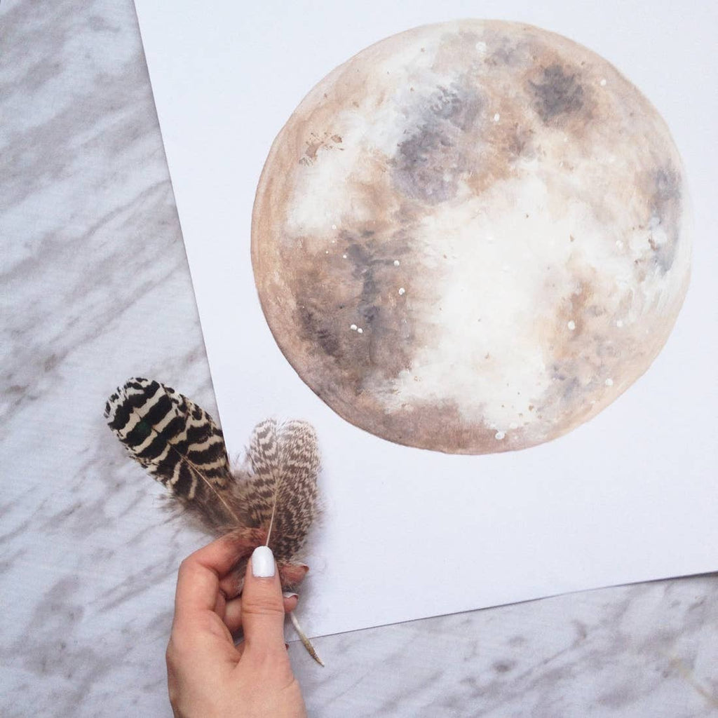 Smokey Taupe Moon Art Print | 11x14
