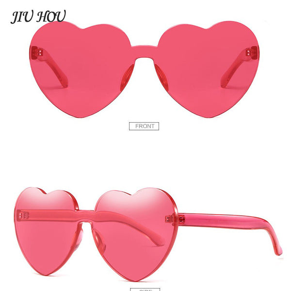Candy Color Transparent Shades Sunglasses Europe Fashion Peach Heart Frameless PC Beach Travel Sunglasses for Women