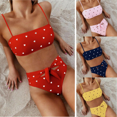Hot Women High Waist Push Up Bikinis Set Padded Heart Swimsuit Beachwear Swimwear Bathing Suit