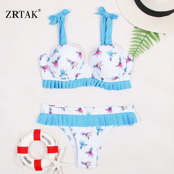 Zrtak Ruffle Off Shoulder Bikini Floral Swimsuit Bandage Lace Up Swimwear Push Up Biquini Feminino Bathing Suit Women Bikini Set
