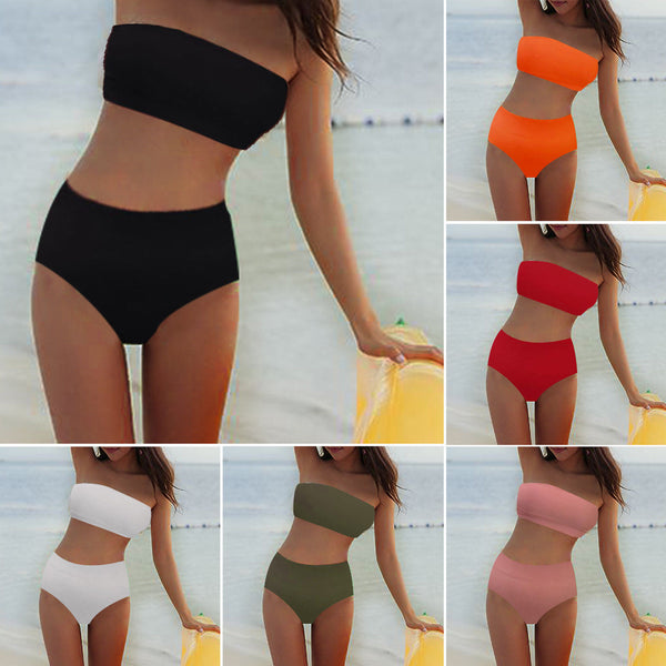 2Pcs Women's High Waisted Bikini Set Push Up Bra Swimsuit Ladies Swimwear Bathing Suit