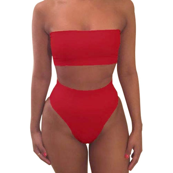 High Waist Swimsuit 2019 Sexy Bikini Women Brazilian Swimwear Push Up Bandeau Top Plus Size Bottom Bikini Set Bathing Suits