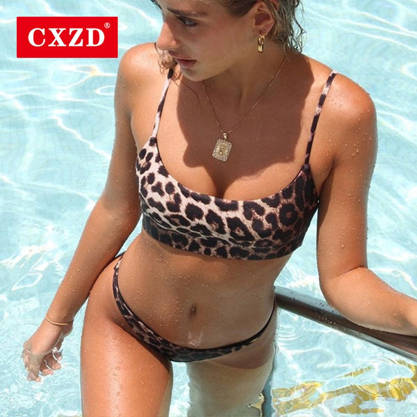 CXZD New Women Leopard Set Push-Up Padded Bra Beach Bikini Set Swimsuit Swimwears Enchanting Women's Swimsuits Sexy Bikini