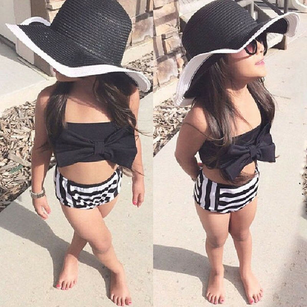 2pcs New Children Girl Swimwear Stripped Swimwear Baby Kid Bikini Infantil Bathing Suit Bikini Girl 2019 New Summer Bathing Suit