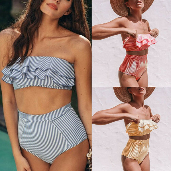 Womens Bandeau High Waist Bandage Bikini Set Swimwear Beach Two-piece Swimsuit Strip Ruffle Monokini Bathing Suit