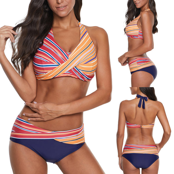 Fashion Swimwear Women Bikini Set Swimming Two Piece Swimsuits Female Beach Split Rainbow Strip Printed Beach Bikini Suit