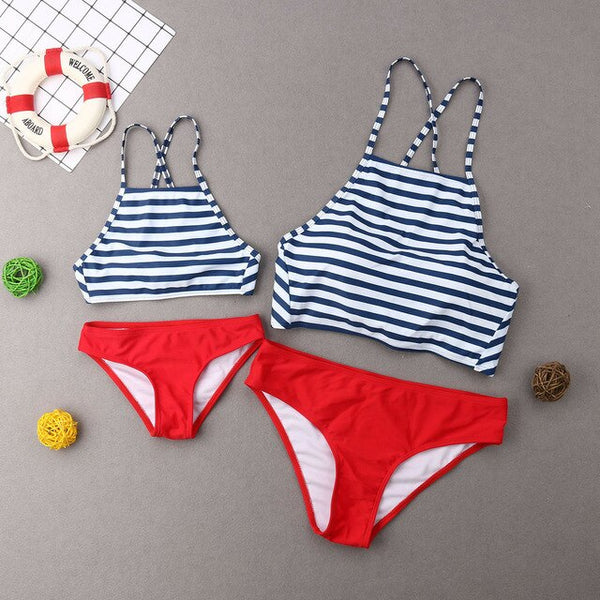 Family Mother Girl Kids Stripe Matching Swimsuit Swimwear Bikini Bathing Suit Stripped Summer Hot Fermale Mid Waist Monokini