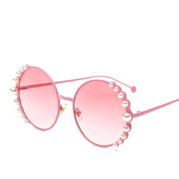 big pearls Women Round sunglasses Fashion Female sun glasses Golden metal frames Vintage brand style Alloy beach eyewear N203