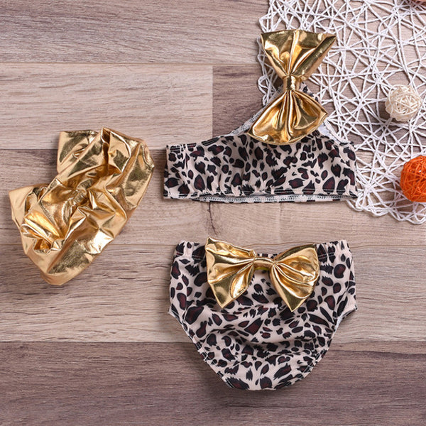 3pcs Summer Kids Baby Girl Leopard Bow Bikini Set Swimwear Swimsuit Bathing Suit One Shoulder High Waist Beachwear