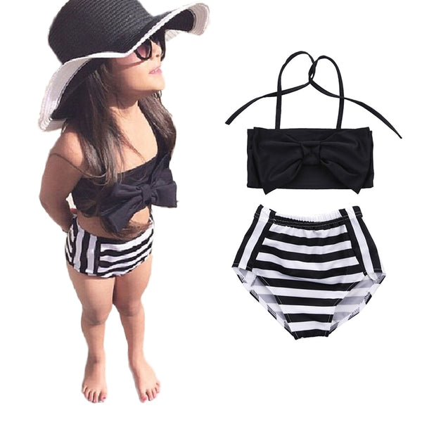 Cute Baby Kids Girl Bikini Set Bow Tie Strip Strap Swimwear Striped Swimming Bathing Suit Swimsuit 2017 New Biquini