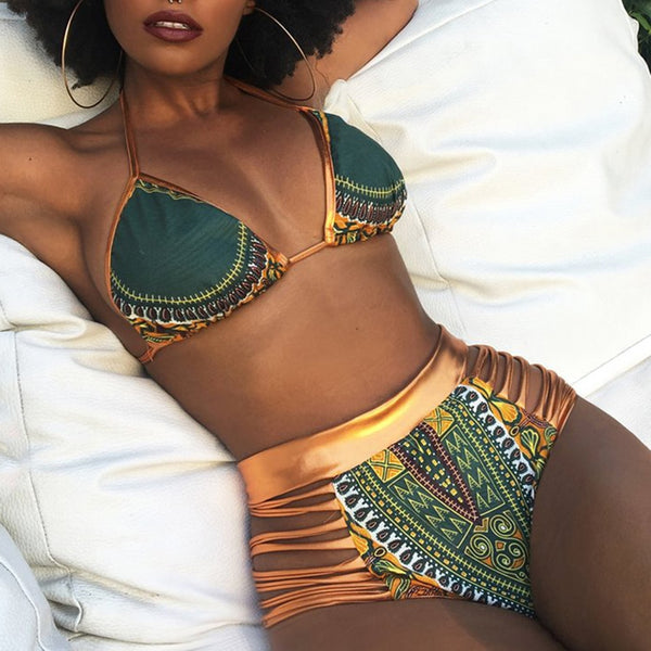 CROSSS1946 New African Print Two-Pieces Bath Suits Bikini Set Sexy Geometric Swimwear Swimsuit Gold High Waist Swimming Suit